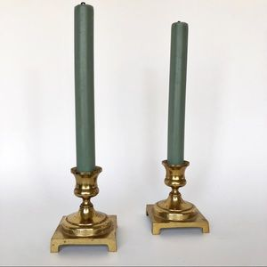 Vintage Brass Candlestick Holders Footed Square